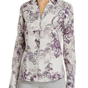 Foxcroft NYC Lauren Floral Fitted Button-Down Top